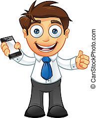 Geschäftsmann - Daumen hoch mit mobil