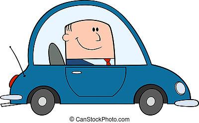 Geschäftsmann fährt Auto.