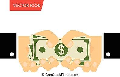 Geschäftsmann Hand geben Geld und Hand erhalten Bargeld. Geld, Bestechung, Spende, Lohnkonzepte. Vector Illustration