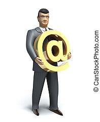 Geschäftsmann hat ein E-Mail-Symbol.
