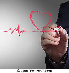 Geschäftsmann, Herz-Atem-Atem-Konzept