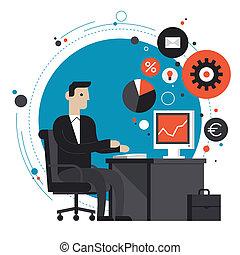 Geschäftsmann im Büro, flache Illustration