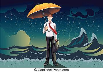 Geschäftsmann in einem Sturm
