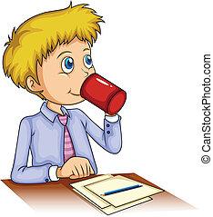 geschäftsmann, kaffeetrinken