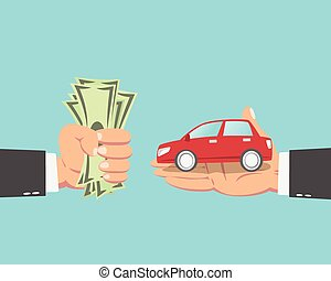 Geschäftsmann kauft ein Auto.