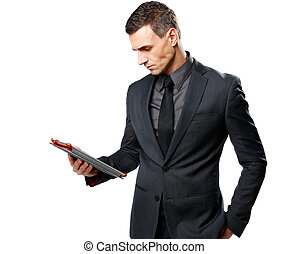 Geschäftsmann mit Tablet Computer isoliert auf einem weißen Hintergrund.
