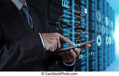 Geschäftsmann mit Tablet-Computer und Serverraum