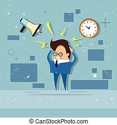 Geschäftsmann multitasking überarbeitete Frist.