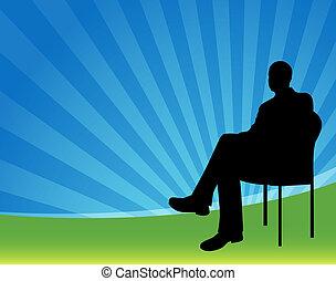 Geschäftsmann sitzt.