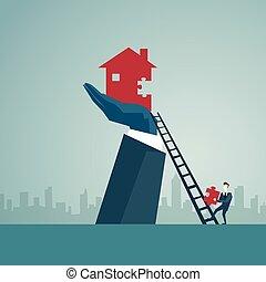 Geschäftsmann steigt die Treppe hinauf, um Haus zu bauen, Business-Mann Finanzierung Erfolg Konzept.