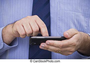 geschäftsmann, touchscreen, smartphone, funktioniert
