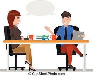Geschäftsmann und Frau reden, Geschäftsleute reden im Büro. Business Cartoon Charakter Konzept Vector Illustration.