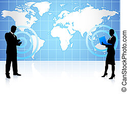 Geschäftsmann und Geschäftsfrau auf globaler Kommunikation