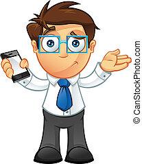 Geschäftsmann - unsicher mit Handy