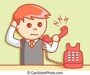 Geschäftsmann wütende Telefonanspielung.