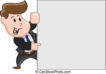 Geschäftsmann zeigt Kopierraum.