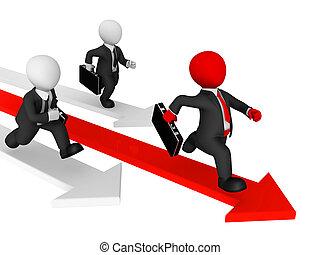 geschäftsmenschen, business., konkurrenz, runs., 3d