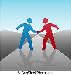 Geschäftspartner, um mit Händeschütteln voranzukommen