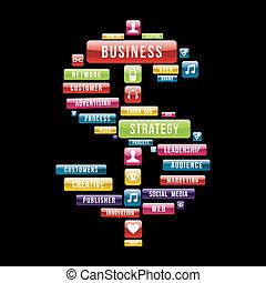 Geschäftsstrategie-Geldzeichen