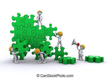Geschäftsteam arbeitet an einem Puzzle. Geschäftskonzept aufbauen.