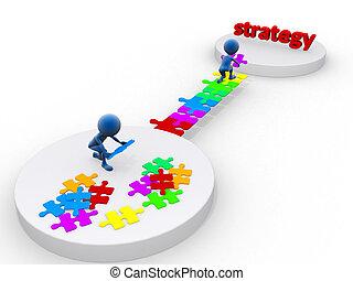 Geschäftsteam arbeitet an einem Puzzle. Geschäftsstrategiekonzept. Isoliert