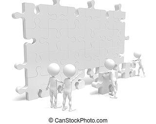 Geschäftsteam arbeitet an einem Puzzle