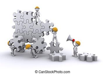 Geschäftsteam arbeitet an einem Puzzle. Unternehmensentwicklungskonzept.