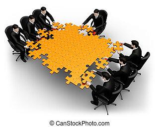 Geschäftsteam baut ein Puzzle