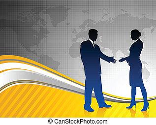 Geschäftsteams auf Weltkarten-Hintergrund