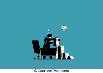 geschaeftswelt, büro., liste, langer, person, papier, besitz