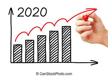 geschaeftswelt, jahr, wachstum, 2020, schaubild, begriff