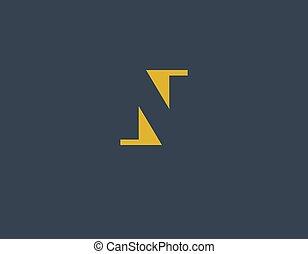 geschaeftswelt, kreativ, n, logo, geometrisch, brief, firma, abstrakt
