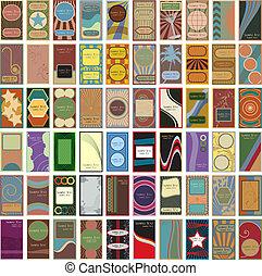 geschaeftswelt, weinlese, 60, vektor, retro, karten