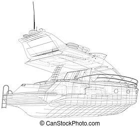 geschaffen, wasser, eps10, yacht., vektor, carriage., format., wire-frame, 3d