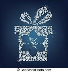 Geschenk mit Schneeflocke gemacht viele Diamanten.