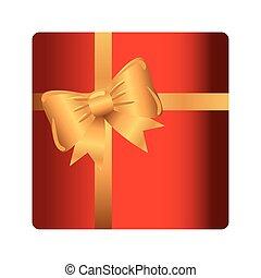 geschenk, schleife, geschenkband, geschenk, goldenes, kasten, rotes