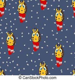 geschenk, stoff, paper., tier, weihnachten, gewebe, tapete, fröhlich, plakat, abbildung, jahr, farbe, muster, hintergrund., vektor, gesicht, scarf., verpackung, seamless, giraffe, neu , reizend, winter