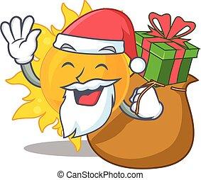 geschenk, weihnachten, sonne, design, santa, sommer, karikatur
