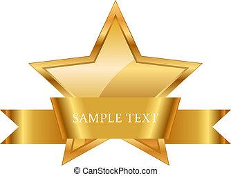 geschenkband, gold, auszeichnung, glänzend, stern