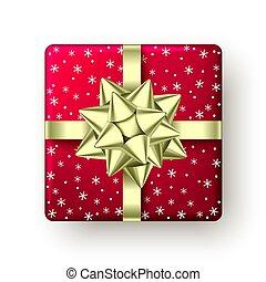 geschenkband, goldenes, rotes , geschenk, weihnachten, kasten, bow.