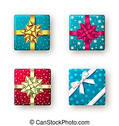 geschenkband, kasten, rotes , goldenes, bow., geschenk, blaues