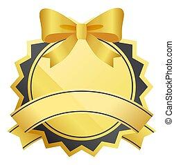 geschenkband, rahmen, luxus, schleife, vektor, goldenes