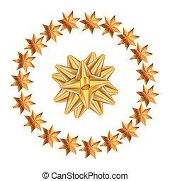 geschenkband, rahmen, schleife, goldenes, kreisförmig, sternen