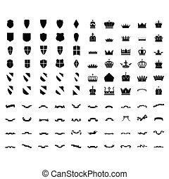 geschenkband, silhouetten, mittelalterlich, satz, elements., shield., ritterwappen, design, crown., 100