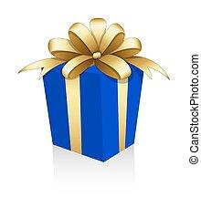 Geschenkdose mit goldener Schleife.