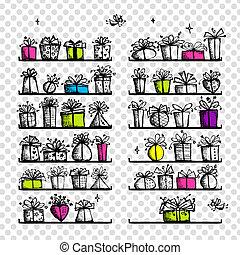 Geschenkdosen auf Regalen, Zeichnung für Ihr Design.