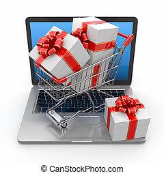 geschenke, e-commerce., laptop, einkaufswagen