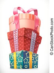 Geschenke. Stapel Kisten. 3-D-Vektor-Icon