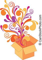 Geschenkkasten mit Blumenmuster, Vektor