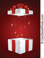 Geschenkkasten mit rotem Bogen.